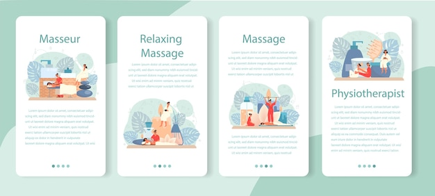 Набор баннеров для мобильных приложений массаж и массажист.