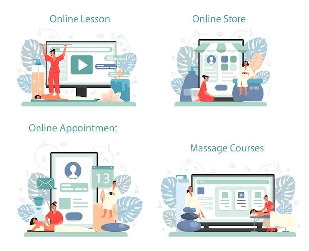 マッサージとマッサージ師のオンラインサービスまたはプラットフォームセット。