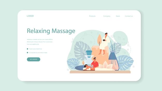 Массаж и массажист веб-баннер или целевая страница. спа-процедура в салоне красоты. лечение и расслабление спины. человек на столе и терапевт.