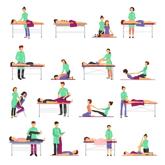 Massage icons set with healthcare symbols flat isolated vector illustration