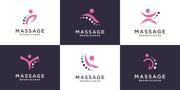 Коллекция массажных логотипов с креативным элементом premium векторы
