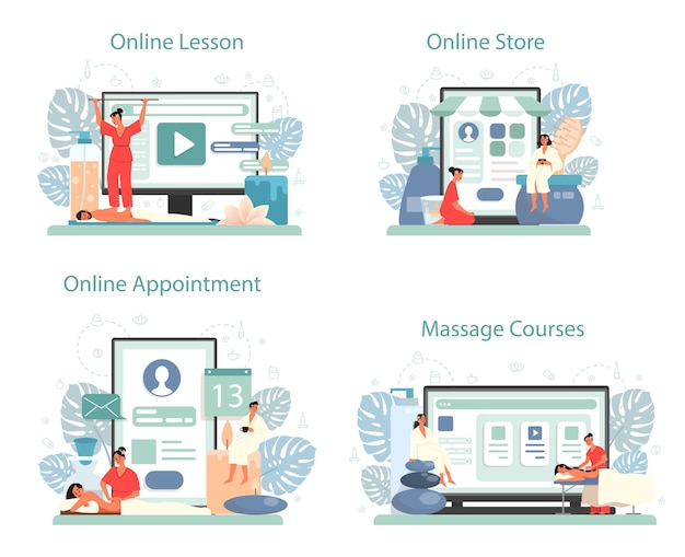 Massage and masseur online service or platform set.