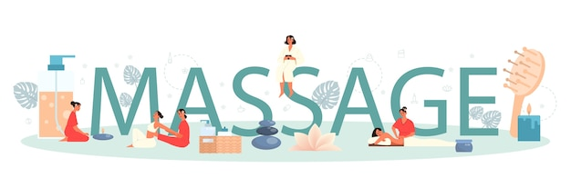 Massage and masseur typographic header concept. spa procedure in beauty salon. back treatment and relaxation. person on table and therapist. isolated flat illustration
