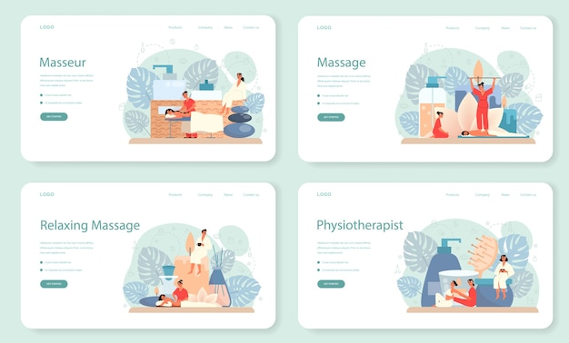 Massage and masseur web banner or landing page set. spa procedure