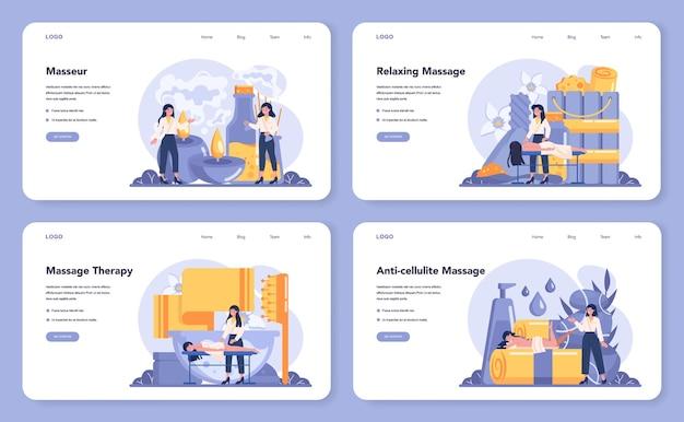 Massage and masseur web banner or landing page set