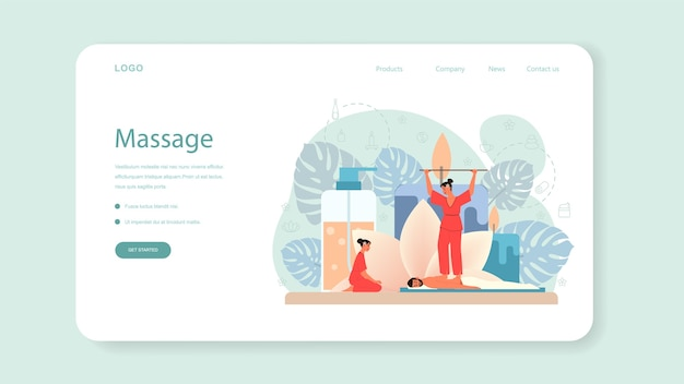 Massage and masseur web banner or landing page