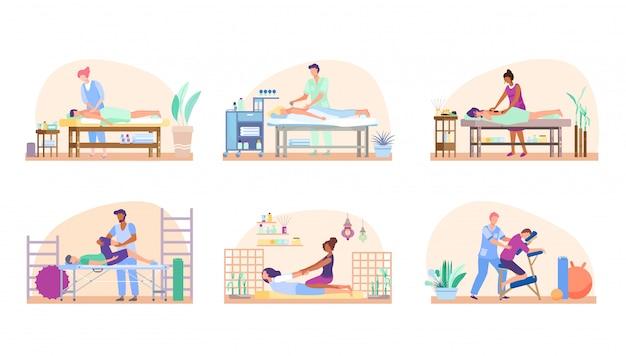 Массаж людей, набор, расслабляющие процедуры в салоне красоты или реабилитационная терапия, иллюстрация