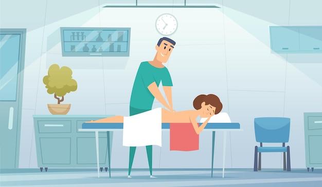 マッサージルーム。看護師は患者と一緒に働きます。アスリートの医療リハビリテーション、筋肉の加温。医者のオフィスのベクトル図のソファの上の女の子。マッサージ治療室、患者、セラピスト
