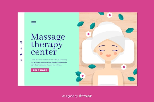 Massage therapy center landing page