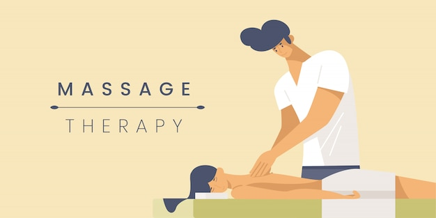 Massage therapy flat banner  template.