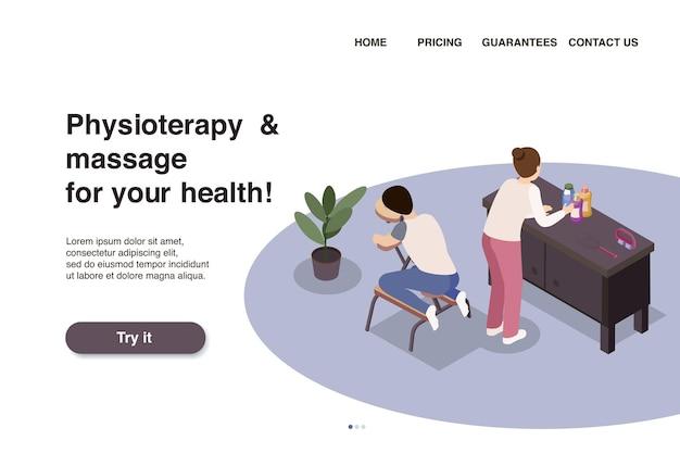 Изометрический веб-сайт или шаблон целевой страницы массажной терапии