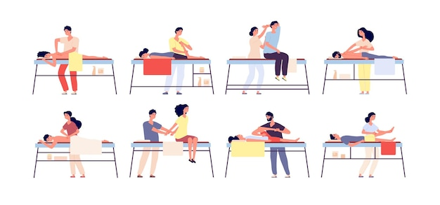 Massage therapy. relaxing spa treatment, rehabilitation therapists and patients.