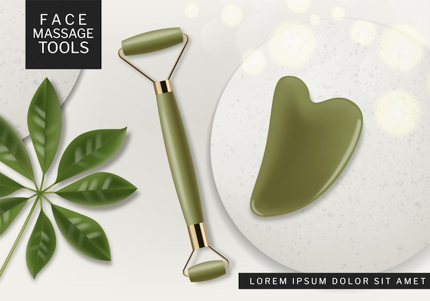 Massage tool vector realistic. cosmetic beauty therapy set product placement mock up designs