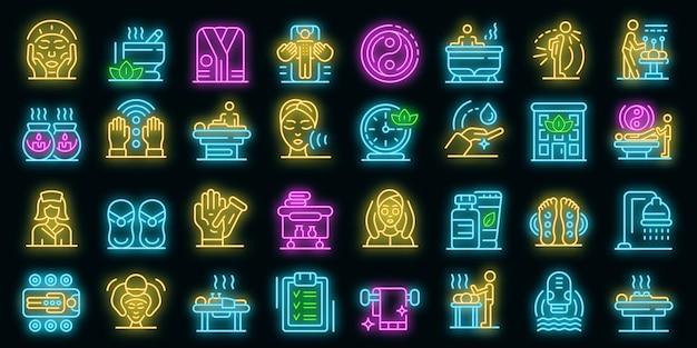 Набор иконок массажист. наброски набор массажист векторных иконок неонового цвета на черном