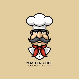 Master chef logo design cartoon Premium Vector