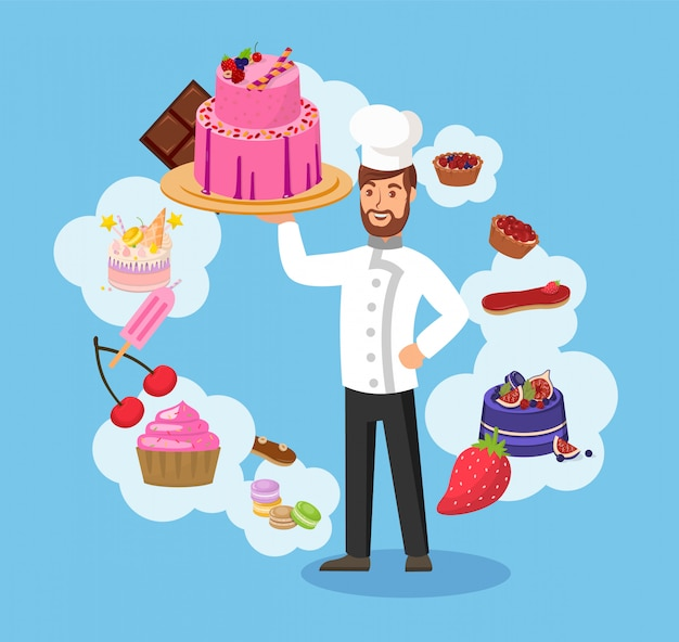 Master chef with bakery color vector illustration
