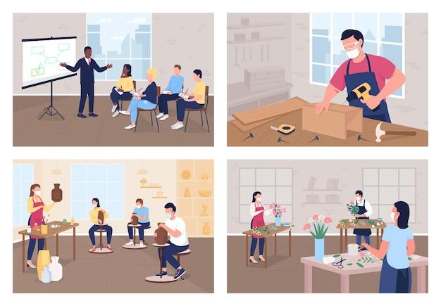 Master class flat color illustration set