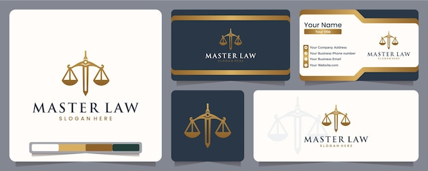 Master law ,law firm, balance, blind, equal, logo design and business card