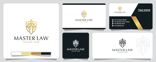 마스터 법률, 방패, 안전, 로고 디자인 영감