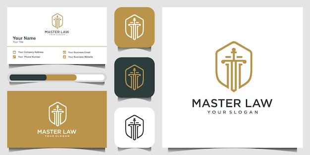 Мастер закон с вдохновением дизайн логотипа щит и визитная карточка