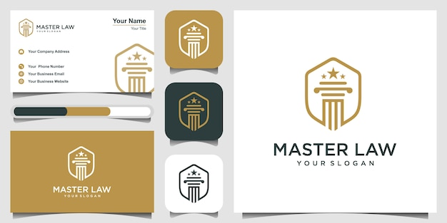 Master law with shield logo design inspiration. logo design and business card