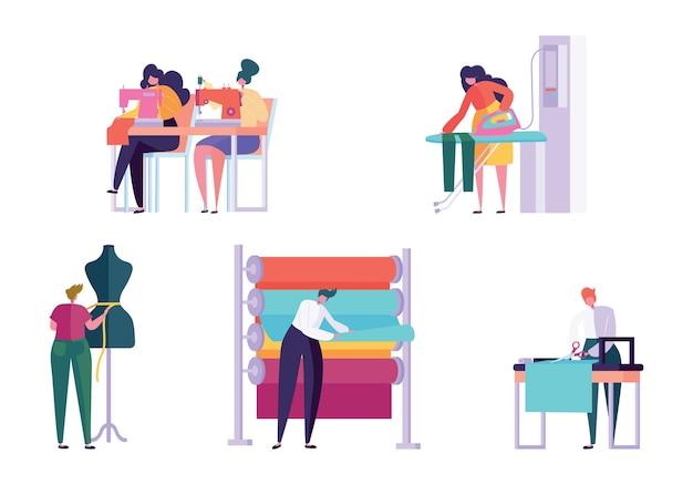 Набор символов мастер по шитью одежды. женщина работа портниха вязальная машина гладильная ткань творческое ателье портной текстильное ремесло бизнес изолированная коллекция плоские векторные иллюстрации шаржа