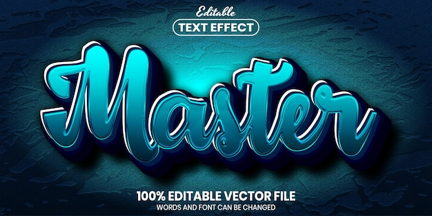 Master text, font style editable text effect