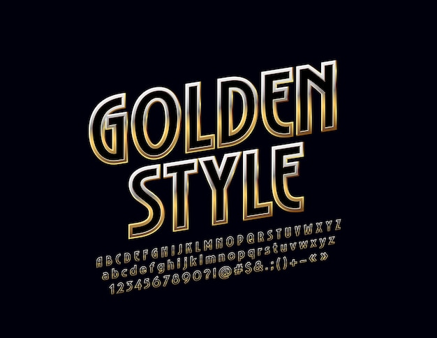 Mat text golden style metallic gradient font rotated exclusive alphabet letters numbers an