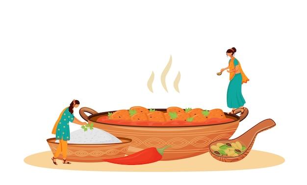 Matar paneer serving flat concept illustration