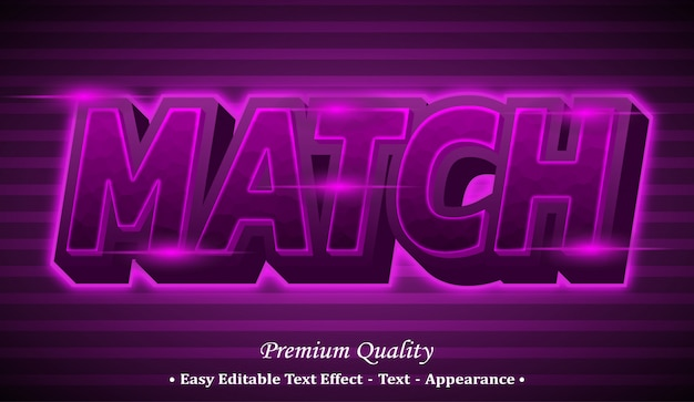 Match 3d editable text style effect