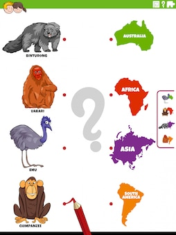 動物種と大陸の教育ゲームを一致させる