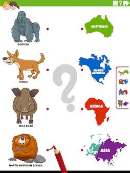 Сопоставьте виды животных и континенты образовательное задание