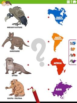 동물 종 및 대륙 교육 과제 일치 프리미엄 벡터