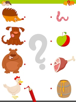 Match animals and food game