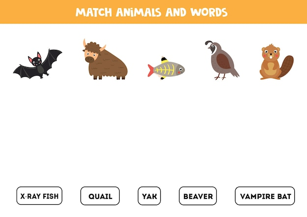 Match animals and words. educational logical game with yak, quail, beaver and others.