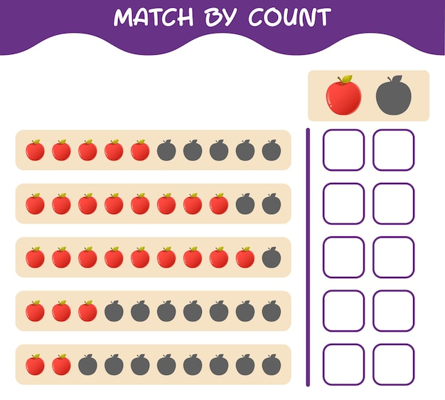 Match by count of cartoon apple. match and count game. educational game for pre shool years kids and toddlers