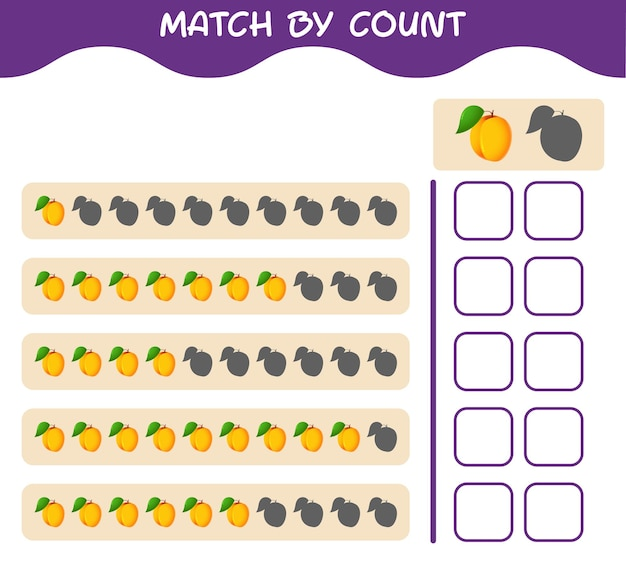 Match by count of cartoon apricot. match and count game. educational game for pre shool years kids and toddlers
