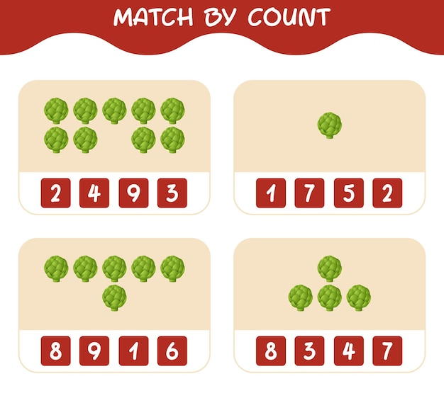 Match by count of cartoon artichoke. match and count game. educational game for pre shool years kids and toddlers