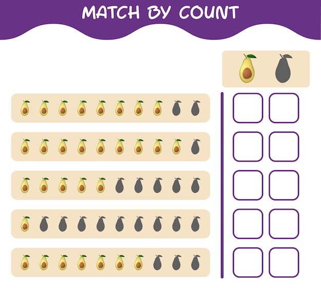 Match by count of cartoon avocado. match and count game. educational game for pre shool years kids and toddlers