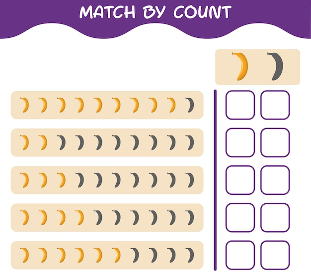 Match by count of cartoon banana. match and count game. educational game for pre shool years kids and toddlers