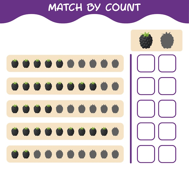Match by count of cartoon blackberry. match and count game. educational game for pre shool years kids and toddlers