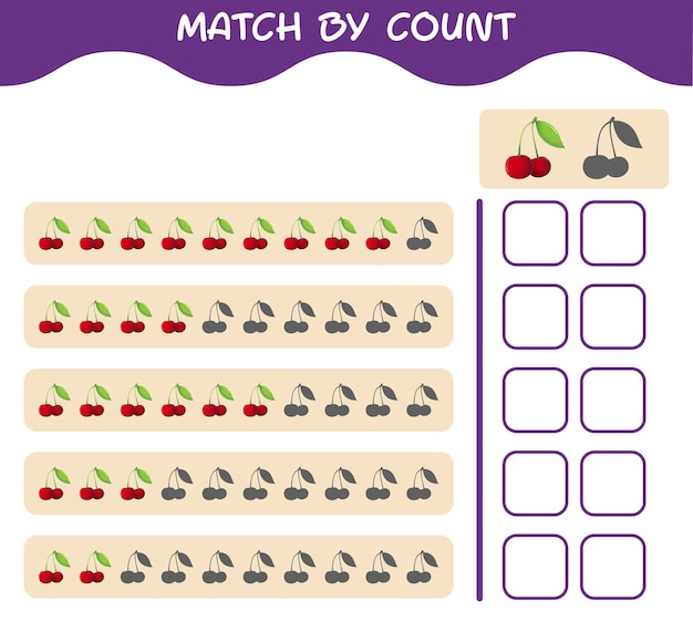 Match by count of cartoon cherry. match and count game. educational game for pre shool years kids and toddlers