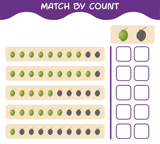 Match by count of cartoon coconut. match and count game. educational game for pre shool years kids and toddlers