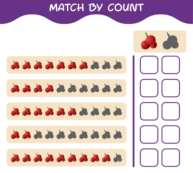 Match by count of cartoon cranberry. match and count game. educational game for pre shool years kids and toddlers