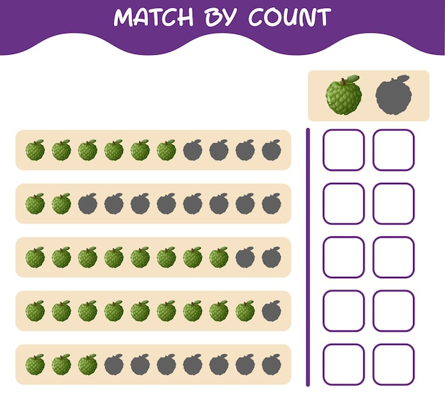 Match by count of cartoon custard apple. match and count game. educational game for pre shool years kids and toddlers