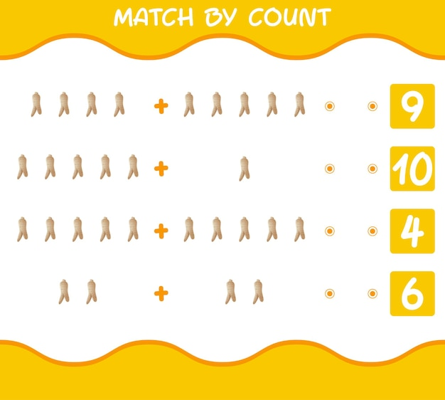 Match by count of cartoon ginseng. match and count game. educational game for pre shool years kids and toddlers