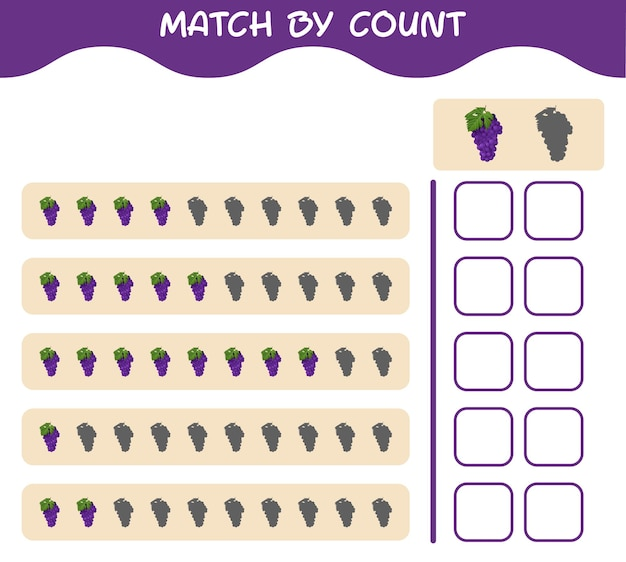 Match by count of cartoon grape. match and count game. educational game for pre shool years kids and toddlers