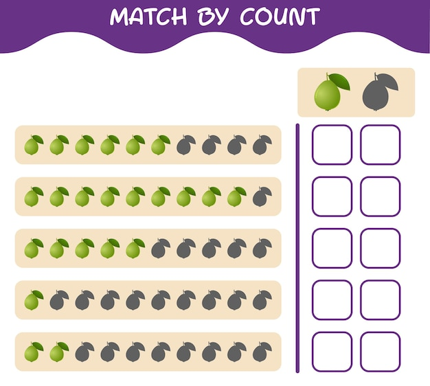 Match by count of cartoon guava. match and count game. educational game for pre shool years kids and toddlers