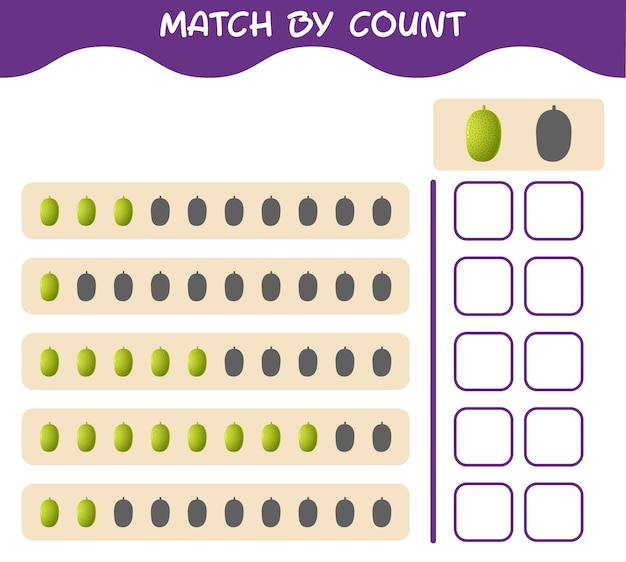 Match by count of cartoon jackfruit. match and count game. educational game for pre shool years kids and toddlers