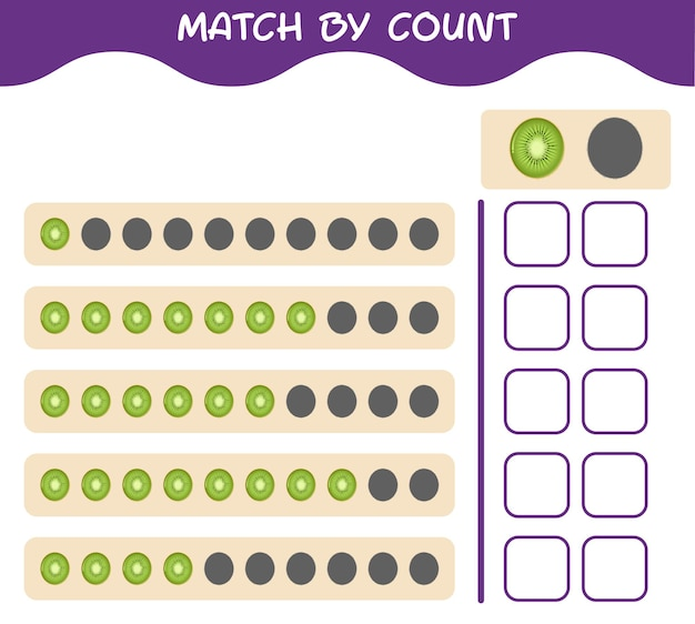 Match by count of cartoon kiwi. match and count game. educational game for pre shool years kids and toddlers
